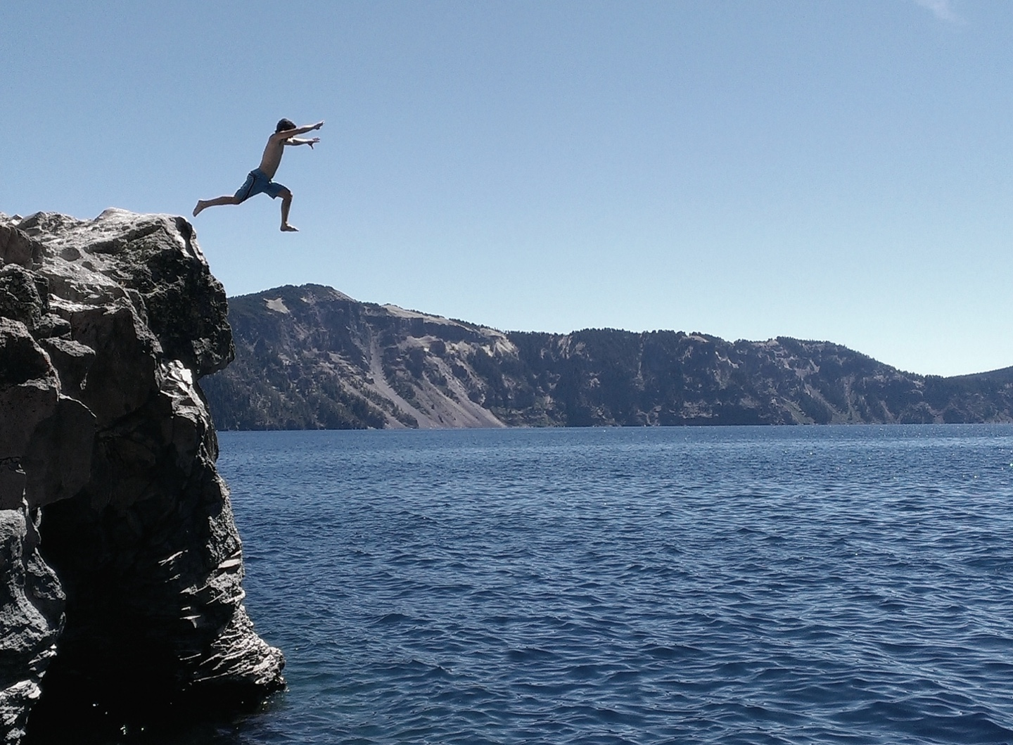 [photo: Jumping into Crater Lake]