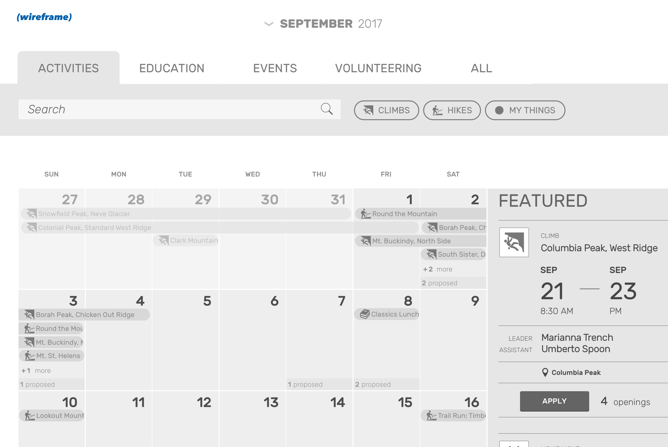 Wireframe: Mazamas calendar of activities
