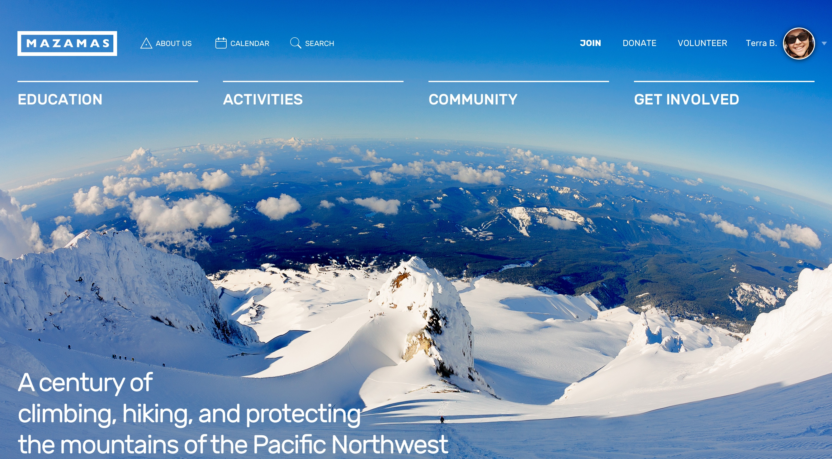 Screenshot: Mazamas Homepage Header