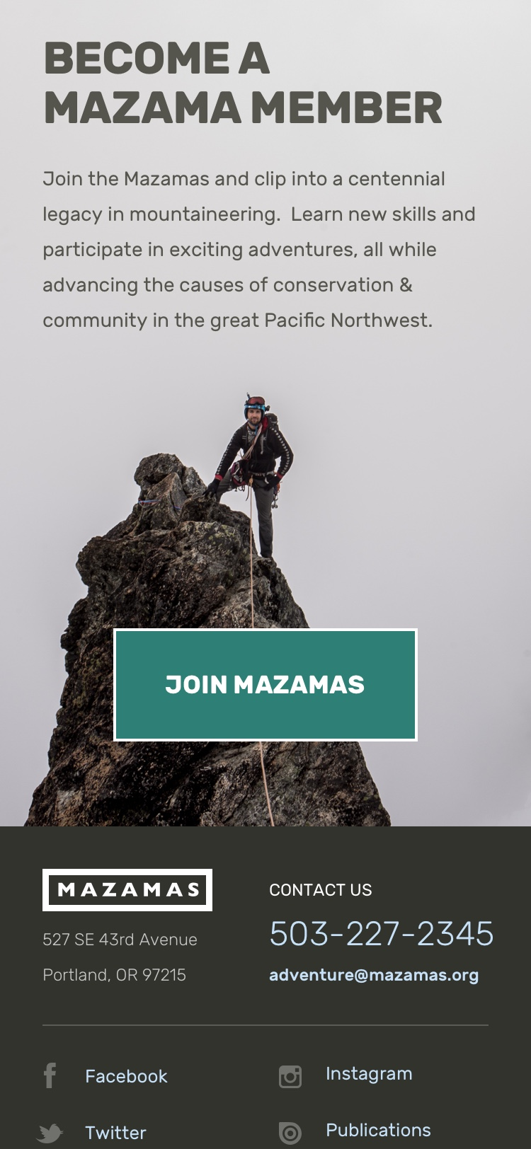 Screenshot: Mazamas Join Call-to-Action (mobile)