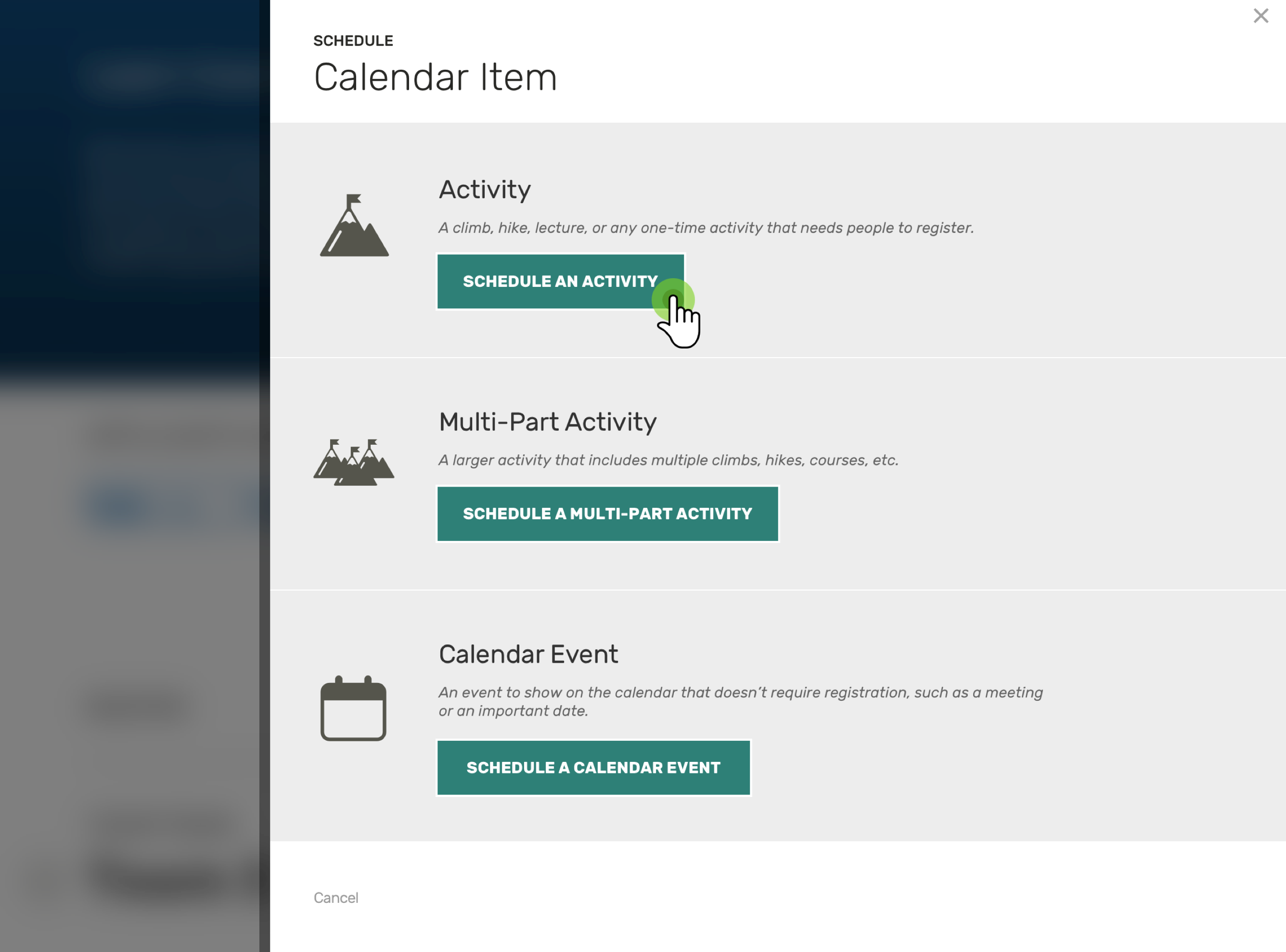Screenshot: UI panel for scheduling a calendar item