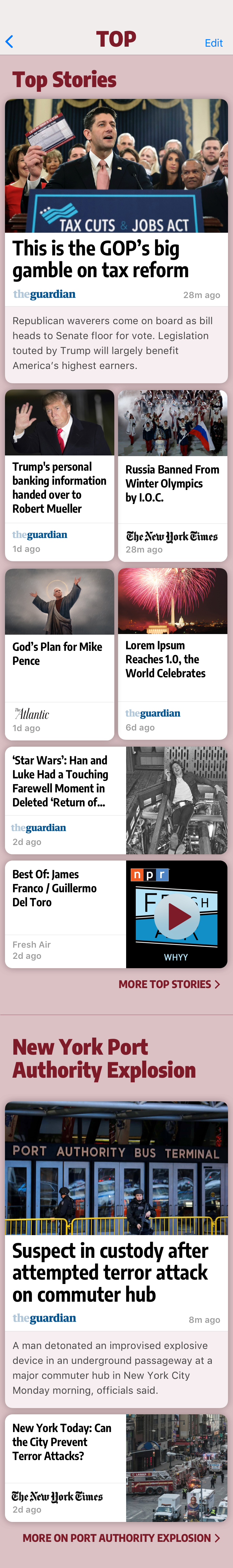 Screenshot: A page of top news