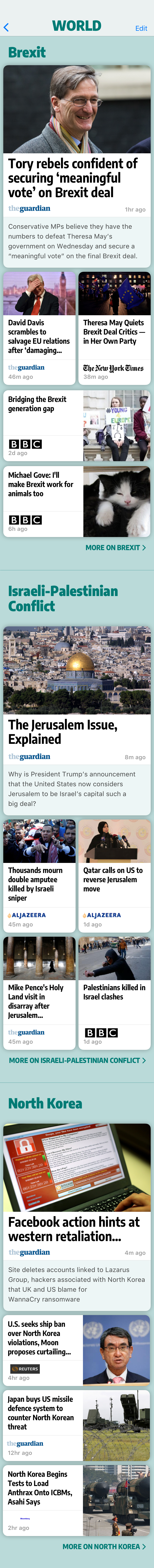 Screenshot: A page of world news