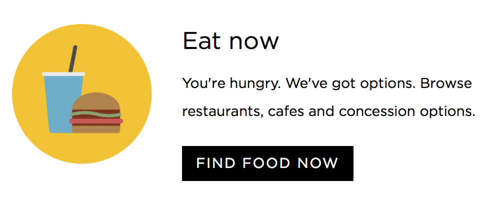 Screenshot: Call-to-action button inviting visitors to find food venues