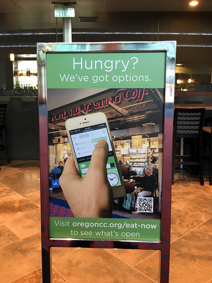 Photo: A sign inside the convention center promoting the 'Eat Now' feature to visitors