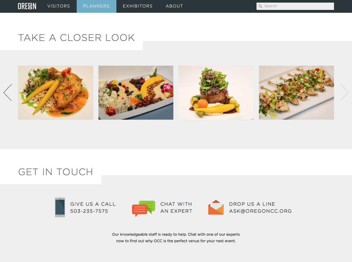 Screenshot: Food images for event planners